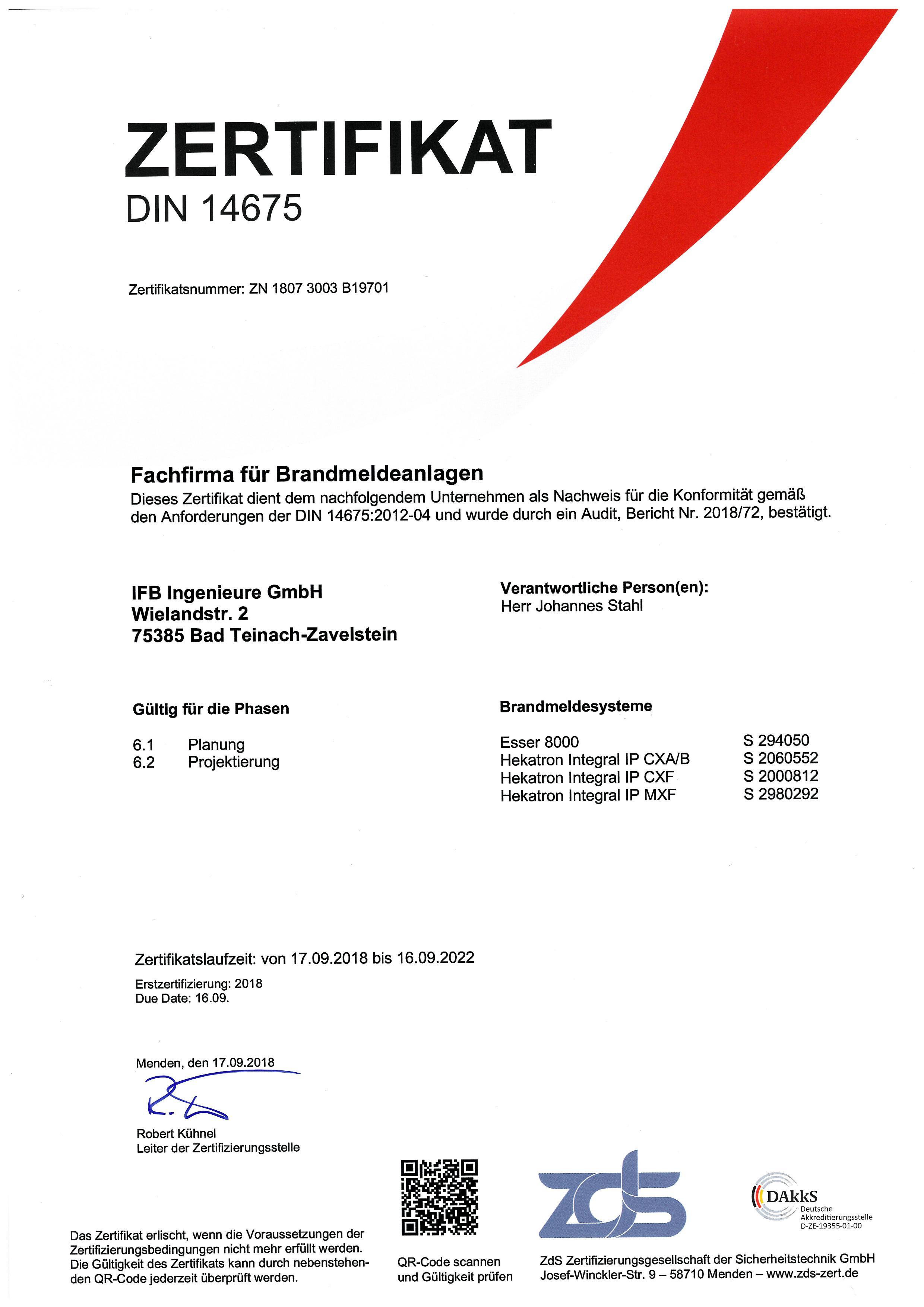 Brandmeldeanlagen Zertifikat